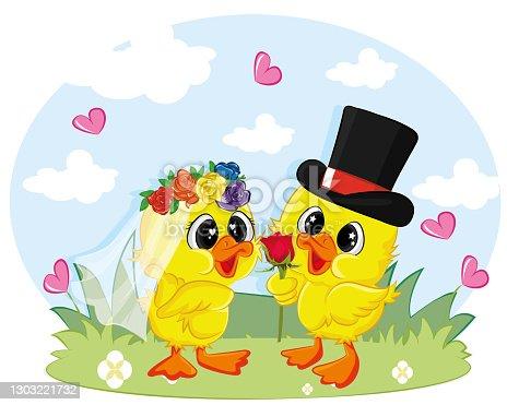 Matrimonio de patos entre dos patos vestidos enteros. Elemento gráfico para tarjeta Valentine.