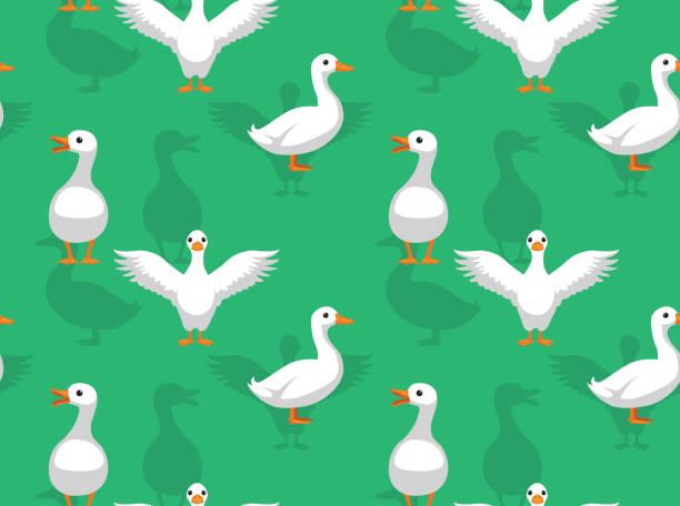 Duck Pekin Cartoon Seamless Wallpaper Animal Wallpaper EPS10 File Format american pekin duck stock illustrations