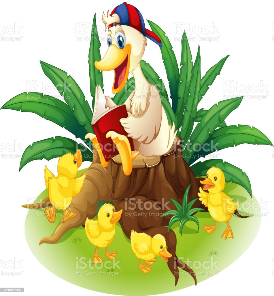 duck reading on a stump with her ducklings royalty-free duck reading on a stump with her ducklings stock vector art & more images of animal