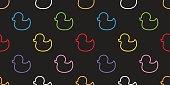 Duck Rubber Duck Seamless Pattern black