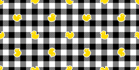 duck seamless pattern rubber duck bird chick checked tartan plaid vector cartoon repeat wallpaper scarf isolated tile background illustration doodle design