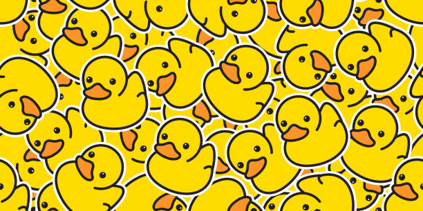 duck seamless pattern vector rubber ducky isolated cartoon illustration bird bath shower repeat wallpaper tile background gift wrap paper yellow duck seamless pattern vector rubber ducky isolated cartoon illustration bird bath shower repeat wallpaper tile background gift wrap paper yellow duckling stock illustrations