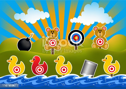 Shooting targets such as teddy bears, ducks, cherry bomb and tin cans.