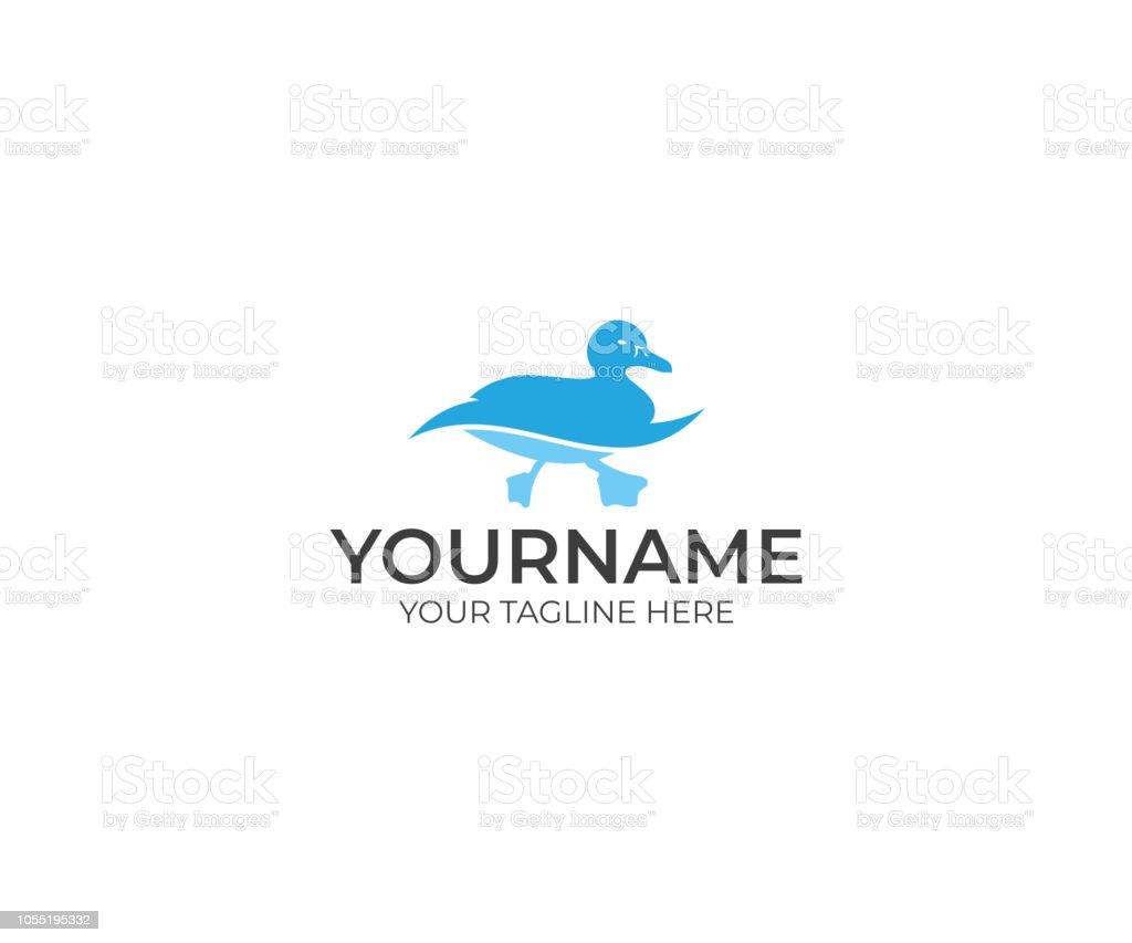 Duck Swims Logo Design. Bird Vector Design. Animal Illustration vector art illustration