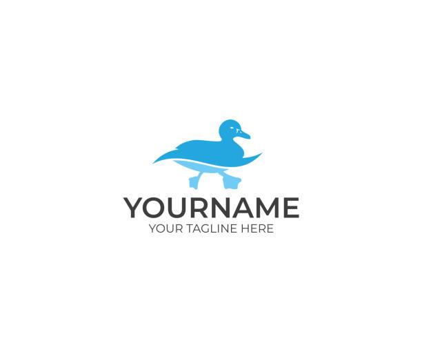 Duck Swims Logo Design. Bird Vector Design. Animal Illustration Duck Swims Logo Design. Bird Vector Design. Animal Illustration ducking stock illustrations
