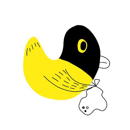 Duck thief cartoon concept for t-shirt print, vector illustration.