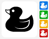 Duck Toy Icon Flat Graphic Design