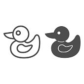 istock Duck toy line and solid icon, childhood concept, rubber duckling toy sign on white background, bath toy icon in outline style for mobile concept and web design. Vector graphics. 1255826407