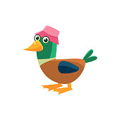 Duck Wearing Pink Hat