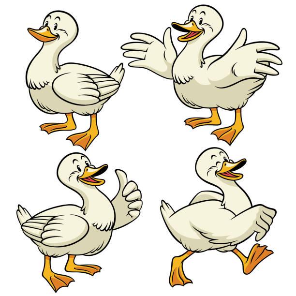 duck with cartoon style in set vector of duck with cartoon style in set ducking stock illustrations