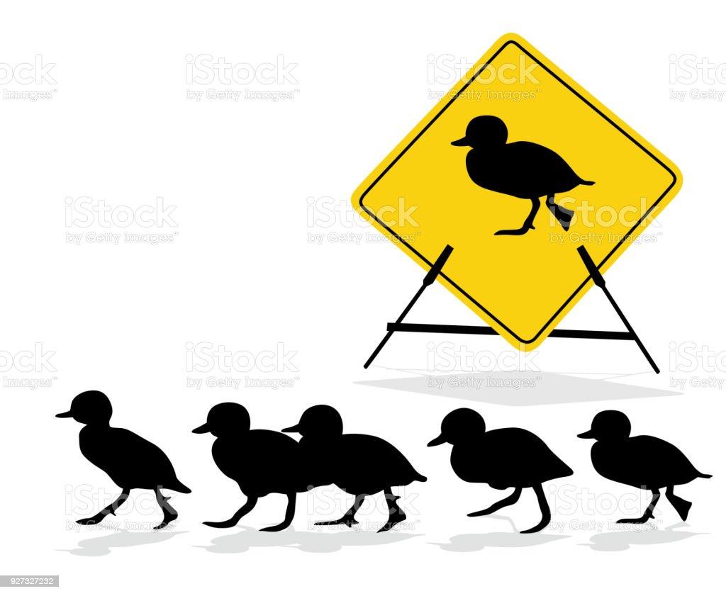 Duckling Crossing Sign vector art illustration
