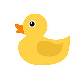 Duckling, simple color icon. Children's rubber toy. Bird. Vector illustration.