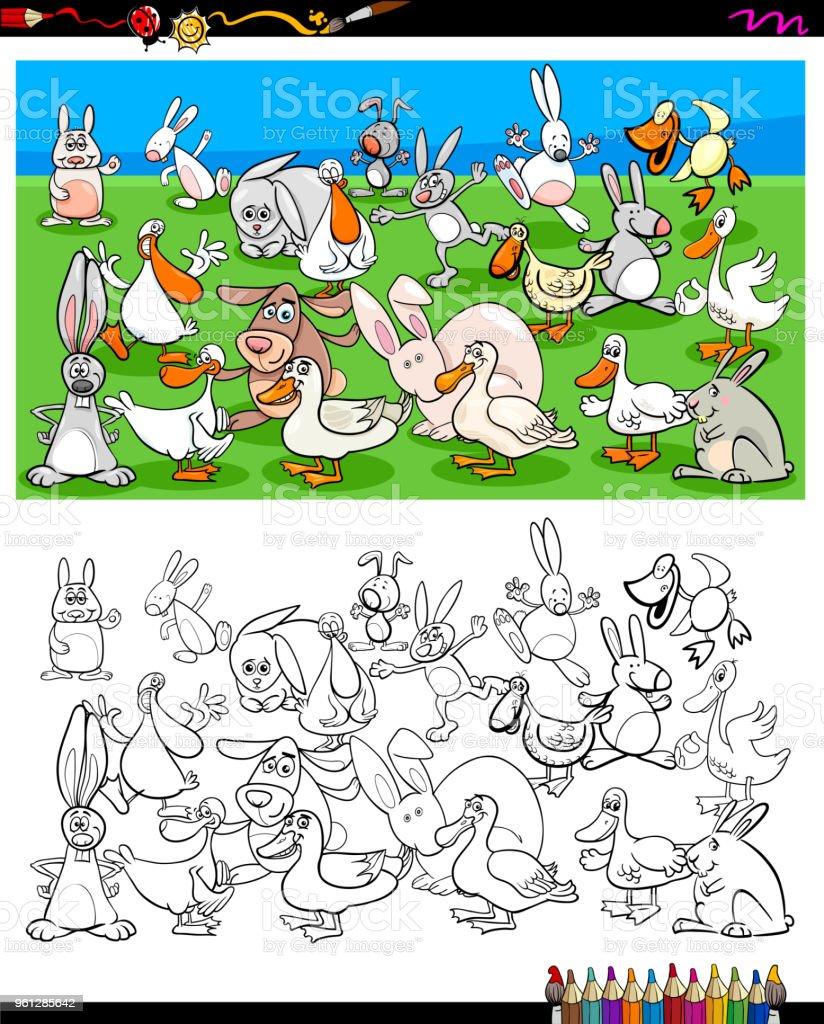 Ilustración De Personajes De Patos Y Conejos Para Colorear Libro Y
