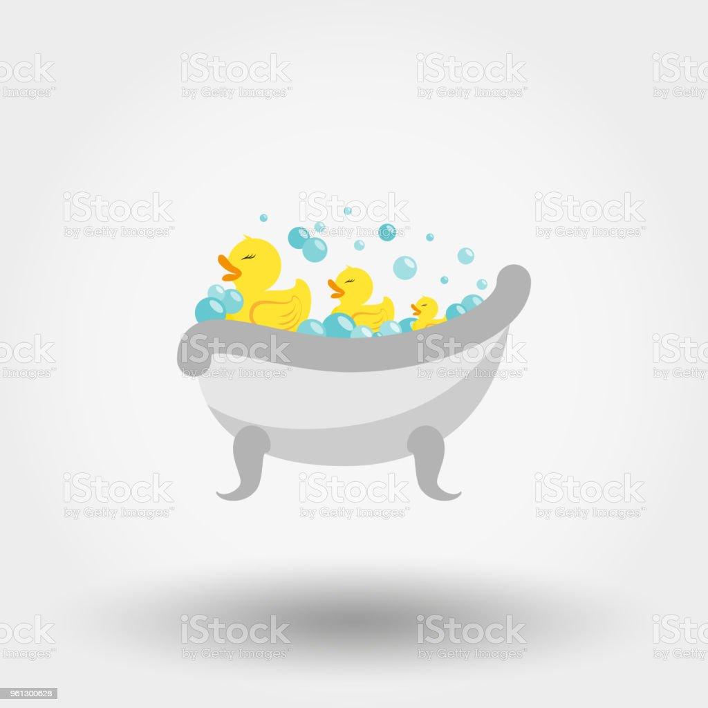 Ducks in the bath. Icon. Vector. Flat. vector art illustration