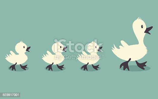 Three little ducks follow one big duck, retro style vector illustration