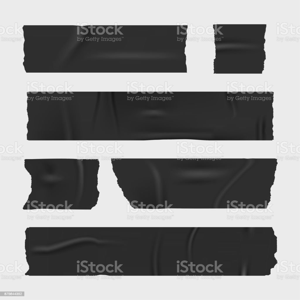Duct adhesive tape. Realistic stripes set vector art illustration