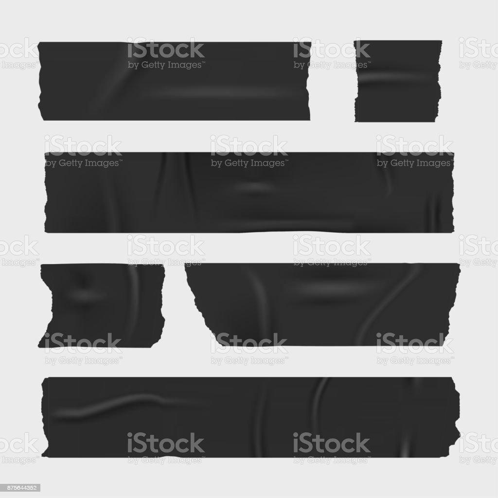 Duct adhesive tape. Realistic stripes set vector art illustration