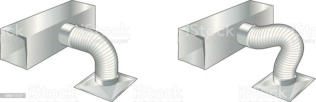 Ductwork, air conditioning, ventilation, heating vector art illustration