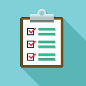 Clipboard and document  list icons vector illustration. The Icon is on blue background color. The icon has a shadow effect to the right side.