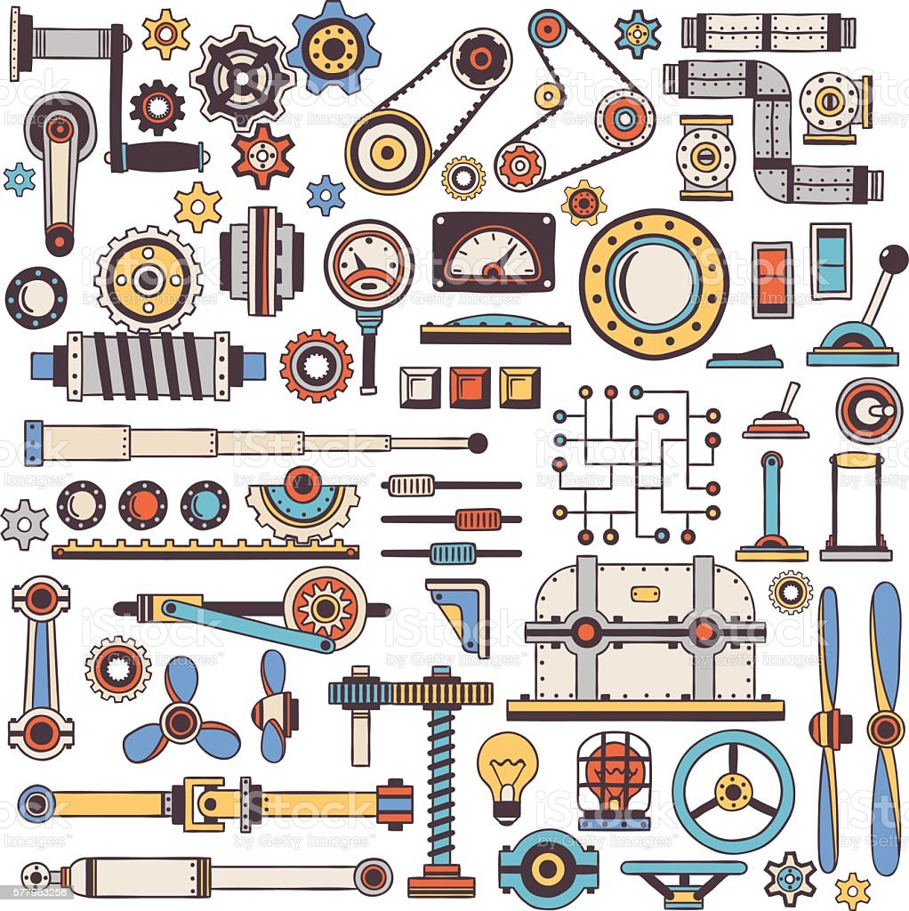 Dudling parts of machinery vector art illustration