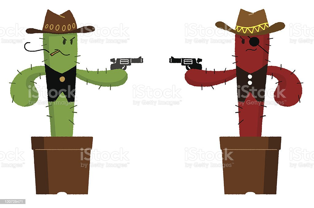 Duel of cactus royalty-free stock vector art