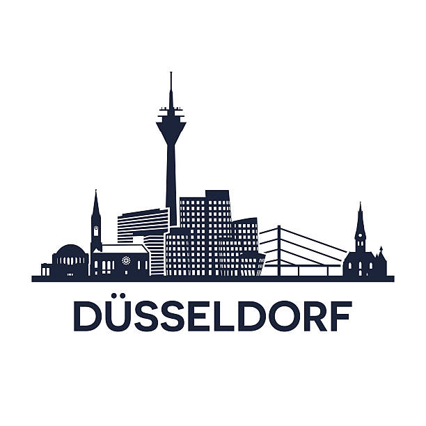 düsseldorf skyline-logo - köln stock-grafiken, -clipart, -cartoons und -symbole