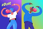 Hashtag duet challenge concept vector illustration of two young teenagers blowing a big bubble gum and gesturing hands up. Emotional gradient design of modern teens repeating videos in social media