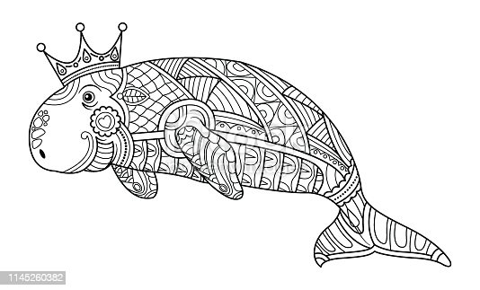 Dugong, ornamental graphic line. Vector. Coloring book page for adult. Hand drawn artwork. Black and white