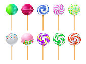 Dulce lollipops. Sweet sugar candy stick isolated vector set