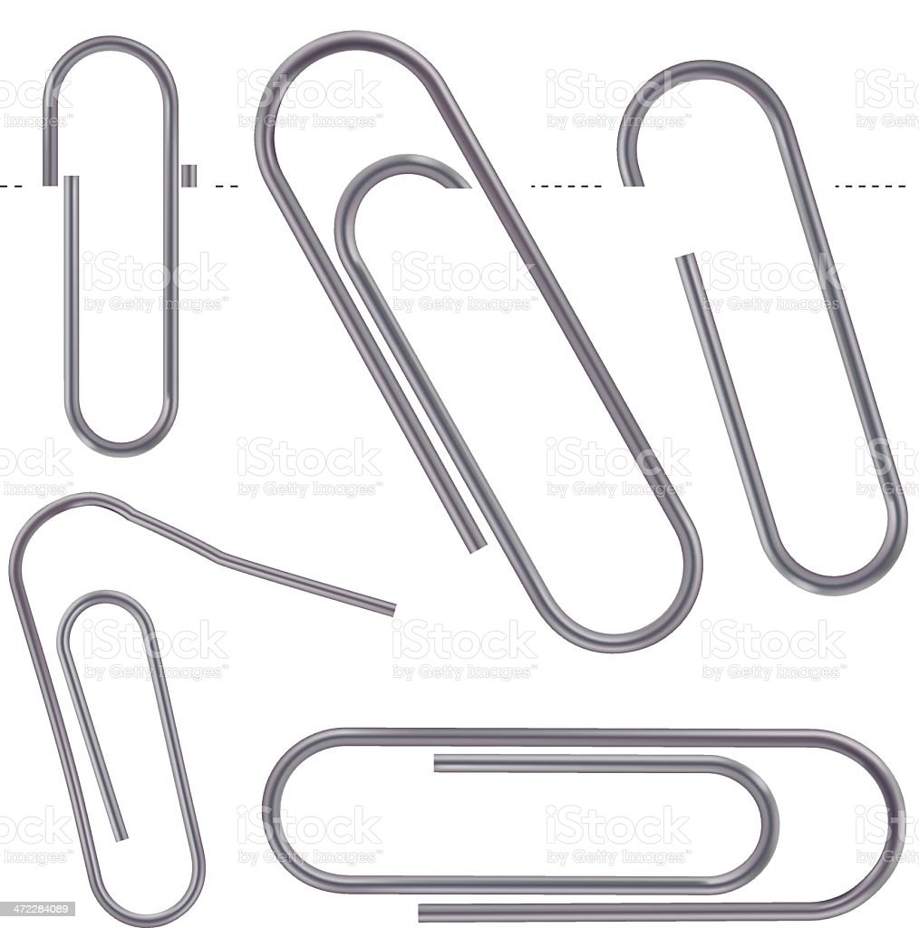Dull metal Paper Clips vector art illustration