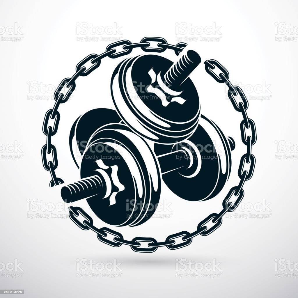 Dumbbell and disc weight vector illustration surrounded by iron chain. gym and bodybuilding sport equipment. vector art illustration