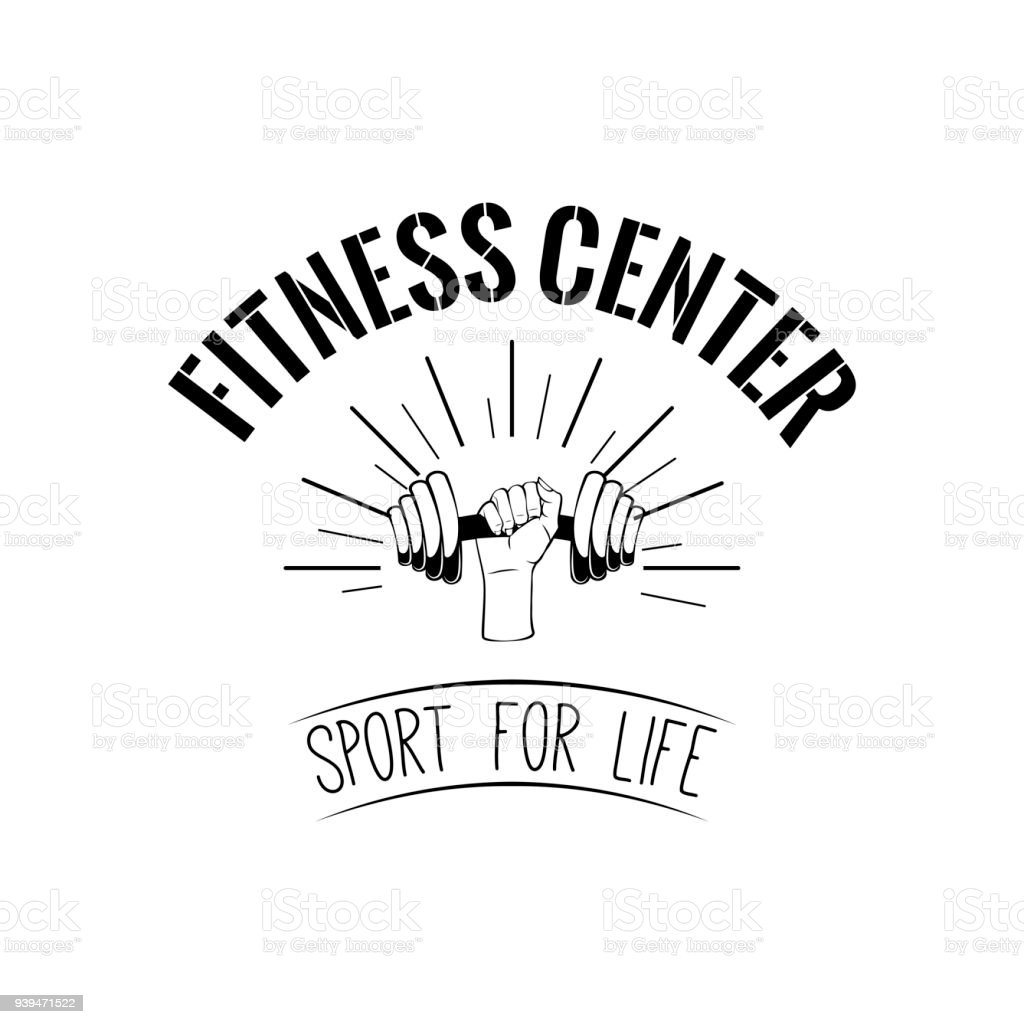 Dumbbell. Fitness center design. Hand holding weight. Train badge. Sport icon. Vector. royalty-free dumbbell fitness center design hand holding weight train badge sport icon vector stock illustration - download image now