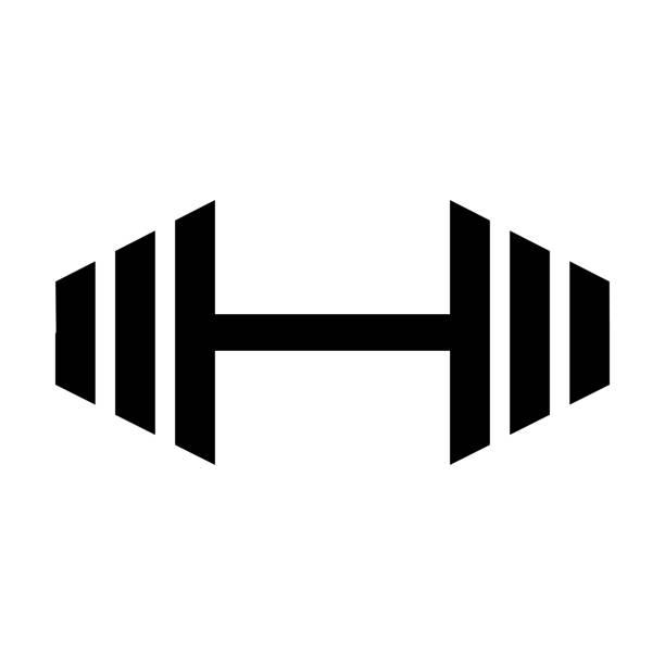 ilustrações, clipart, desenhos animados e ícones de halteres para ginástica ícone, preto sinal do design - personal trainer