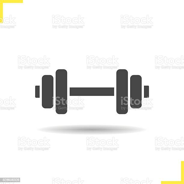 Dumbbell drop shadow icon. Isolated vector illustration. Gym barbell symbol