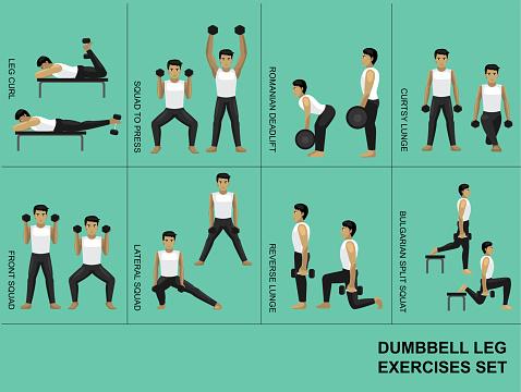 Dumbbell Leg Exercise Moves Manga Gym Set Illustration