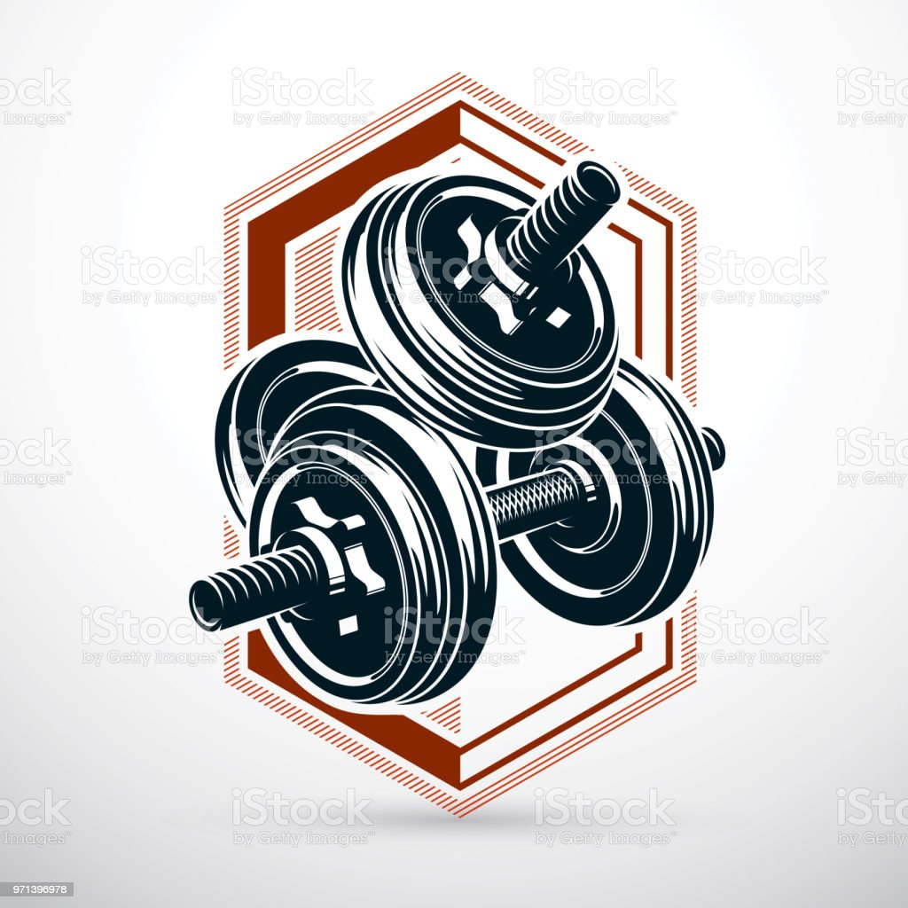Dumbbell vector illustration isolated on white with disc weight. Sport equipment for power lifting and fitness training. vector art illustration
