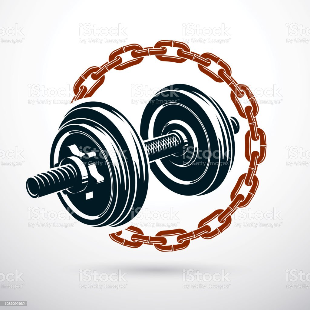 Dumbbell vector illustration surrounded by iron chain. Fitness workout and power lifting. vector art illustration