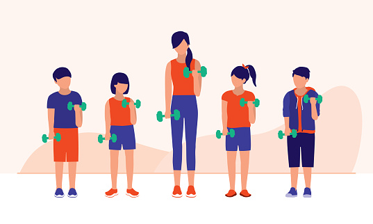 Dumbbell Workouts For Kids. Fitness Class Concept. Vector Flat Cartoon Illustration.