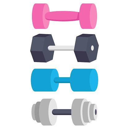 Dumbbells for exercise vector set.