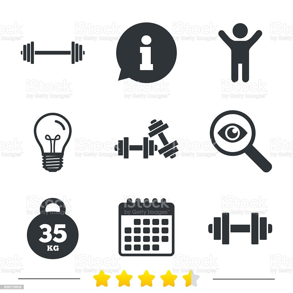 Dumbbells Icons Fitness Sport Symbols Stock Vector Art More Images