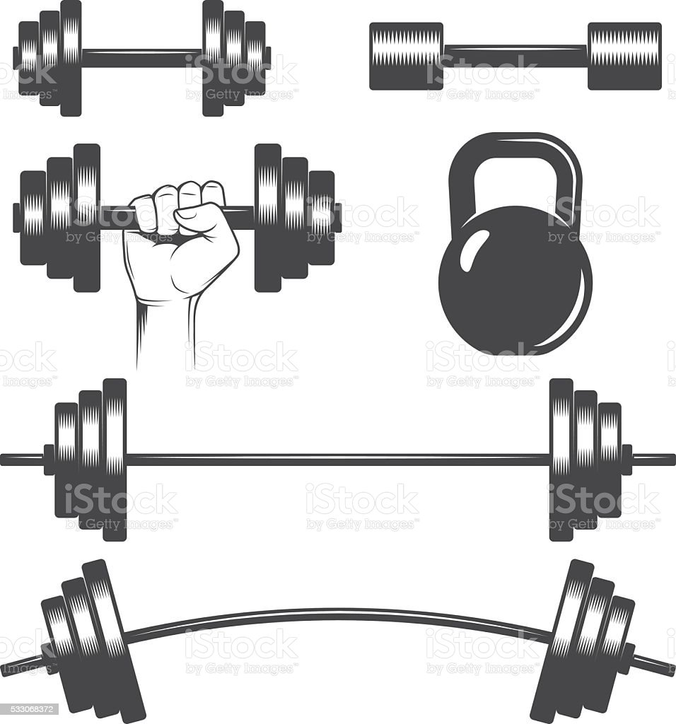 Dumbbells set vector art illustration