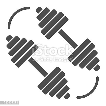 istock Dumbbells solid icon, Gym concept, barbell sign on white background, Sports dumbbells icon in glyph style for mobile concept and web design. Vector graphics. 1280439293
