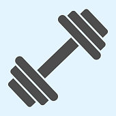 istock Dumbbells solid icon. Heavy weights barbel. Sport vector design concept, glyph style pictogram on white background, use for web and app. Eps 10. 1206000946