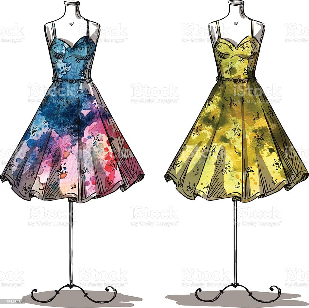Dummies with dresses. Fashion illustration. vector art illustration