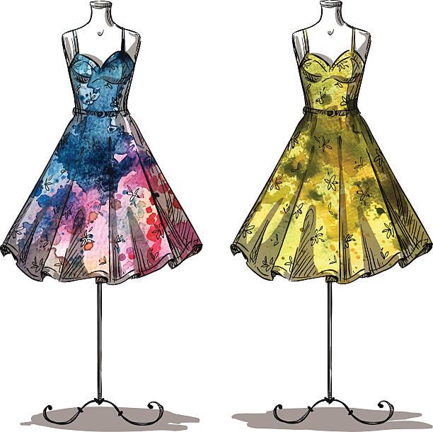 dummies with dresses. fashion illustration. - prom fashion stock illustrations, clip art, cartoons, & icons