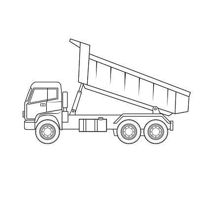 Dump loader truck cartoon construction site vehicle equipment machine. Only black and white for coloring page, children book.
