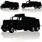 """Dump Truck. Three tight silhouette illustrations of a Dump Truck - Heavy Industry. Layered for easy edits. Check out my """"Construction Vector"""" light box for more."""