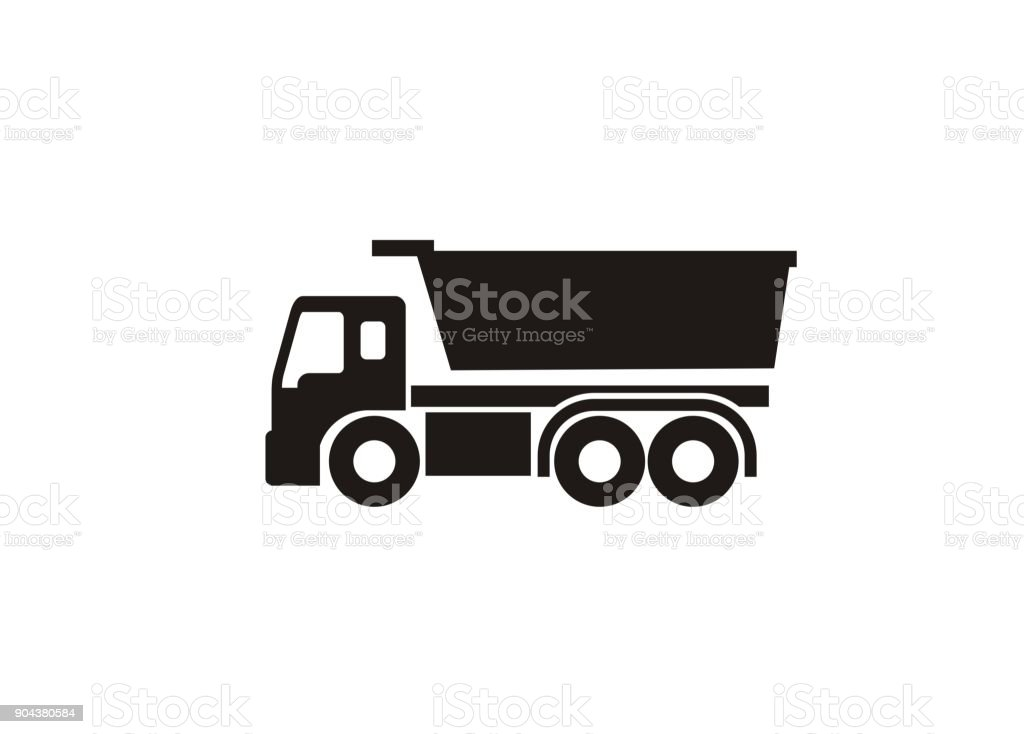 dump truck simple icon vector art illustration