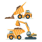 Dump truck with body full of soil and modern excavator. Load and unload process of big yellow industrial vehicle isolated cartoon flat vector illustrations set.