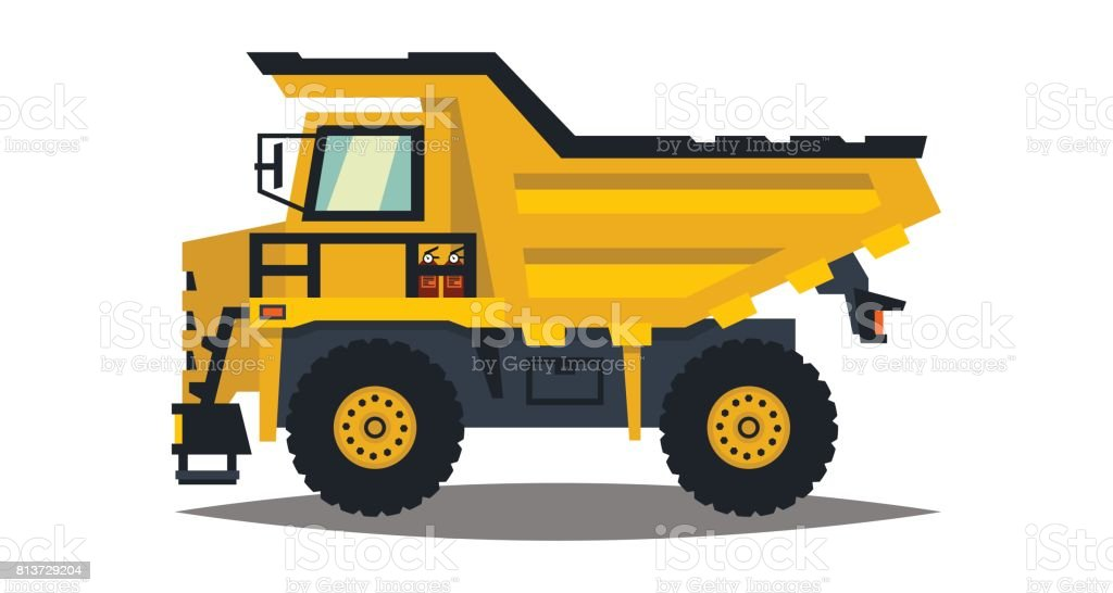 Dumper. Big car. Yellow truck. Isolated on white background. Flat style vector art illustration